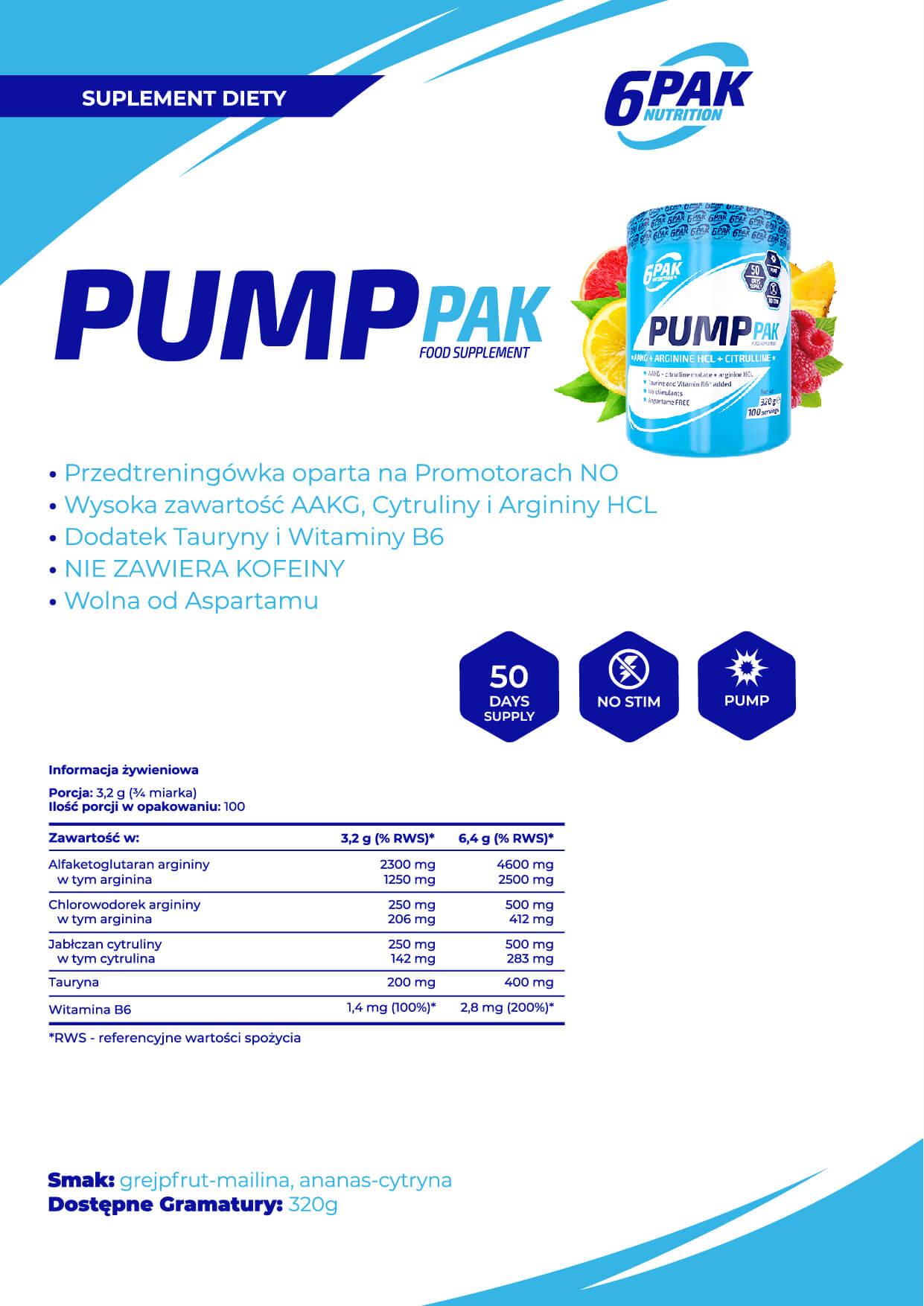 6PAK Nutrition Pump PAK Baner - 320g