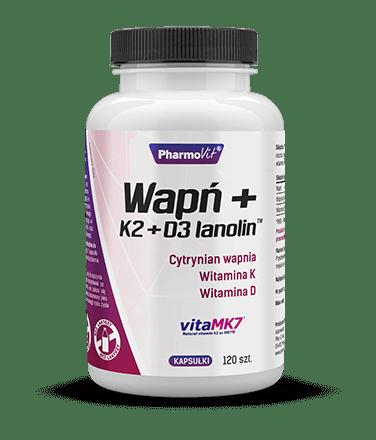 Pharmovit Wapń + K2 + D3 lanolin™ - 120 kaps.