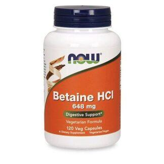 NOW Betaine HCI 648mg - 120 kaps.