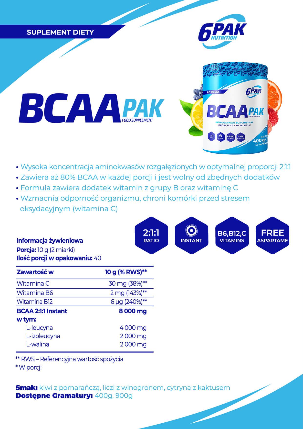 6PAK Nutrition BCAA PAK Baner - 400g